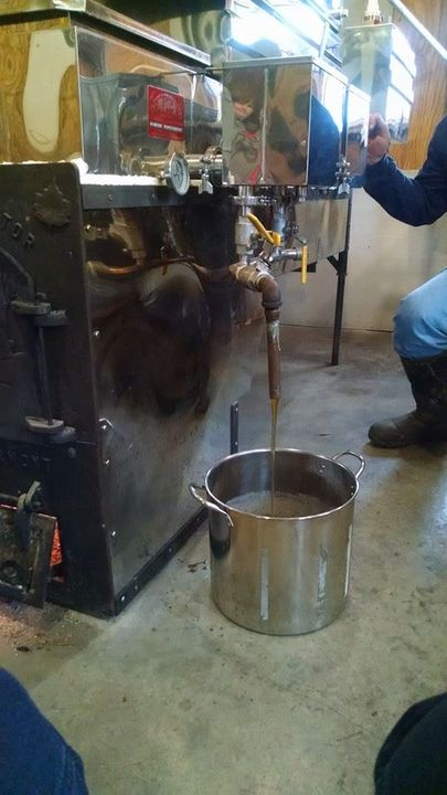 First syrup of the season coming off the evaporator!