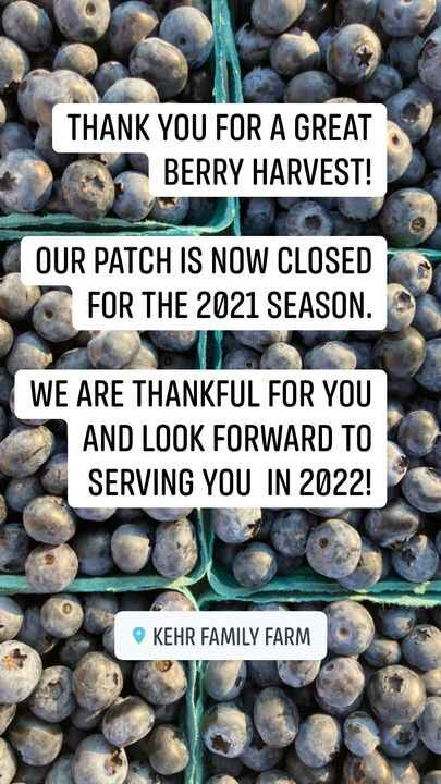 Thank you for a great harvest season. I walked the patch today after we finished picking and realized it is time to clos...