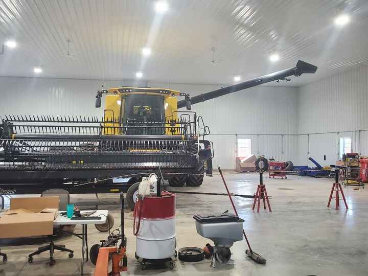 Got most of the shop emptied today so we could finish up working on the combine and bean head the next few days before h...