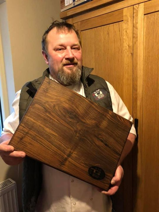 Happy birthday boss man 💐🎂🎉thanks so much to Colin Reynolds A&L Chopping Boards for the incredible board. The detail in ...
